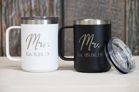 Mr. And Mrs. Coffee Mugs, Stainless Steel Mr and Mrs Coffee Mugs