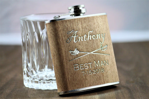 Engraved Wood Flask- Personalized Groomsmen Gift