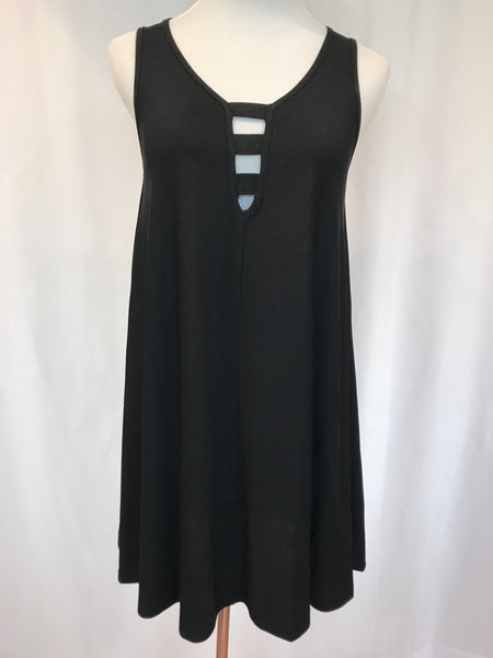 A-Lined Ribbed Swing Tank Dress Black