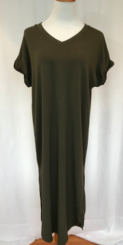 Long V Neck Tee Shirt Dress