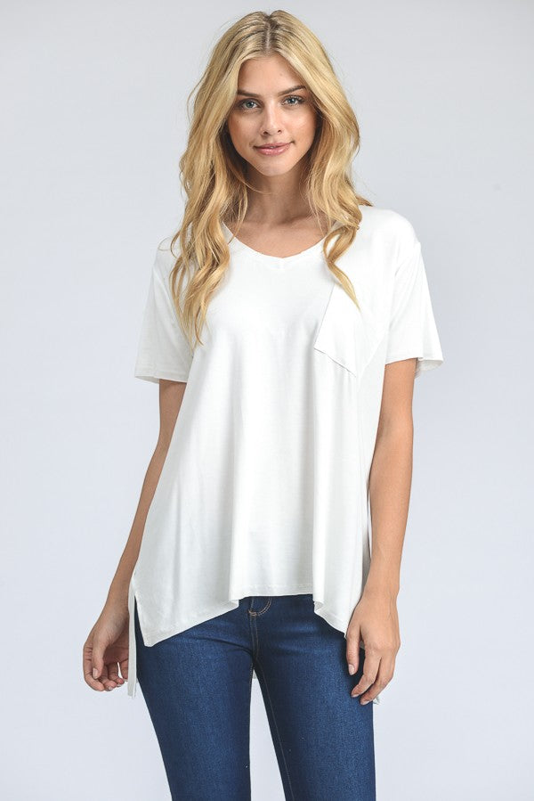 Pocket V-Neck Solid Top - White