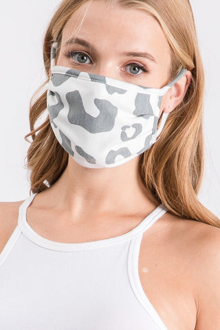 Grey Animal Print Mask