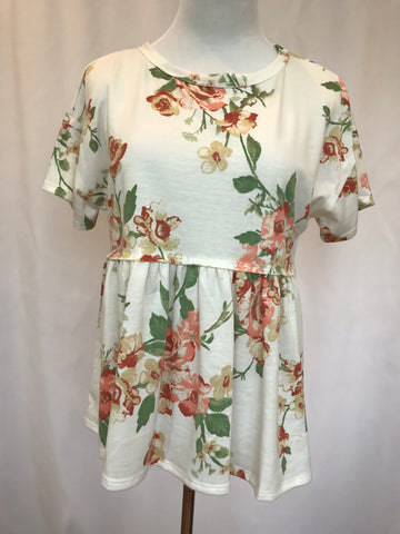Floral Baby Doll Tee Ivory