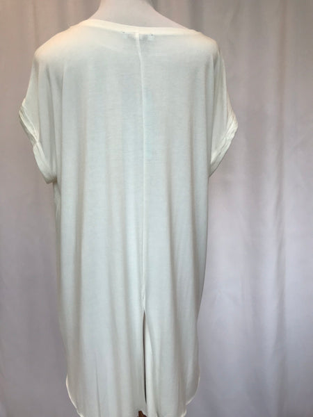 Rolled Sleeve High Low Tunic