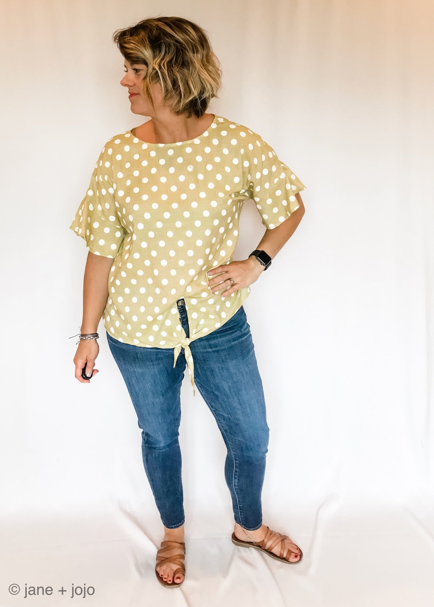 Polka Dot Ruffled Top
