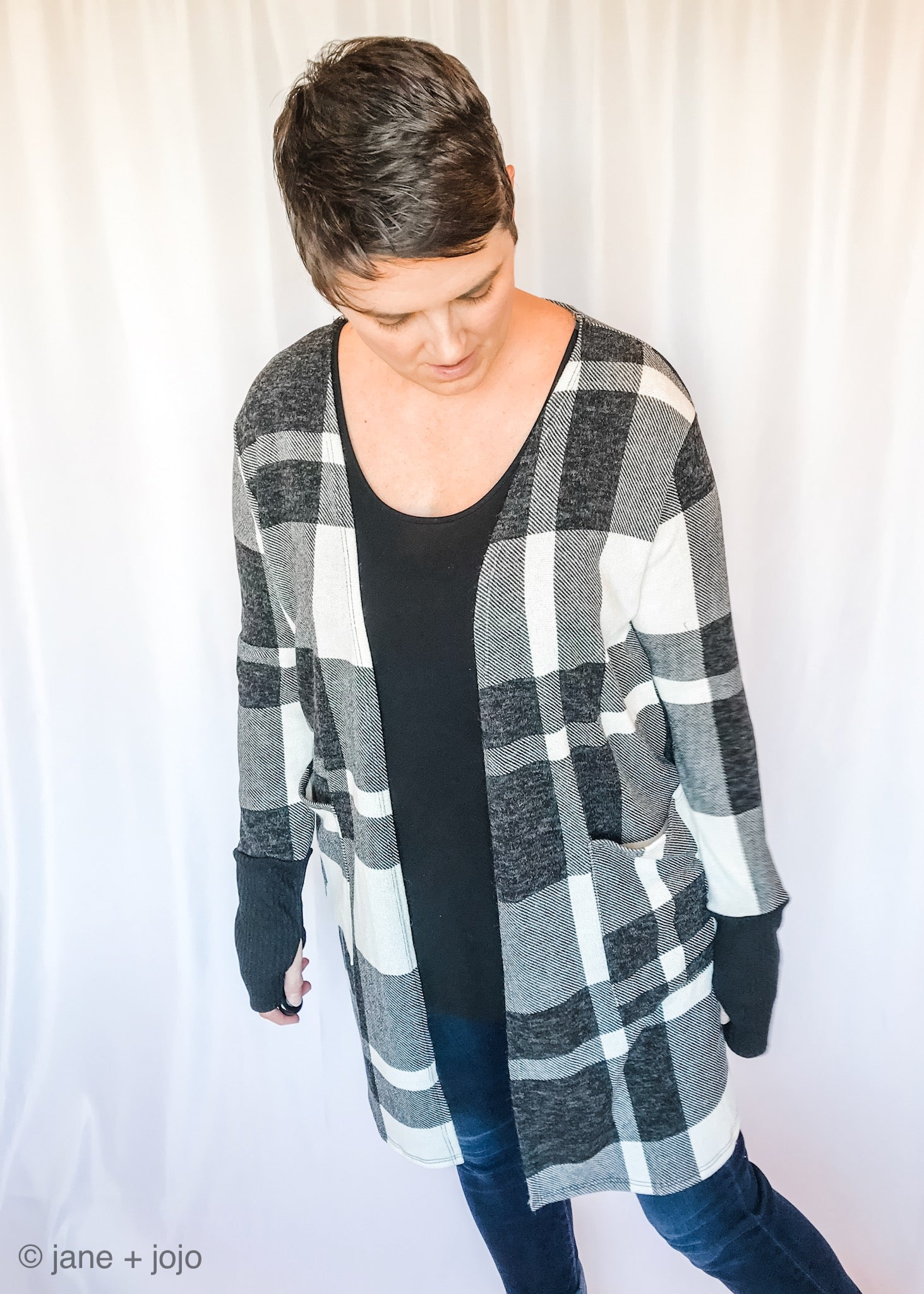 Lily Plaid Pocket Cardi