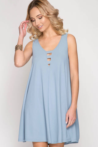A-Lined Ribbed Swing Tank Dress Misty Blue