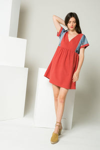 Short Sleeve Tie Detail Dress