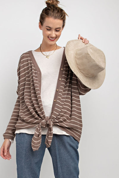 Striped Button Down Cardigan - Faded Plum