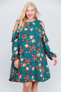 Floral Cold Shoulder Ruffle Tunic Dress