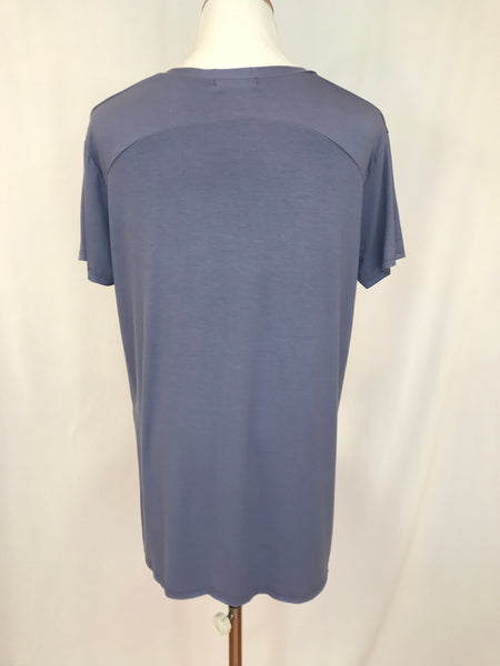 Pocket V-Neck Solid Top - Periwinkle