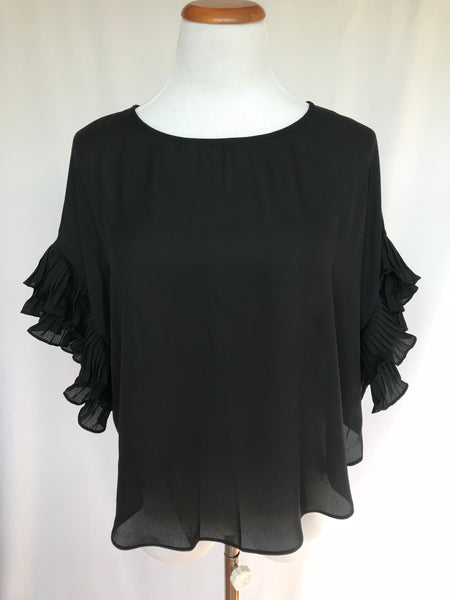 Pleated Ruffle Sleeve Top