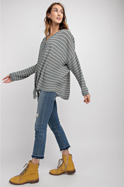 Striped Button Down Cardigan - Faded Blue