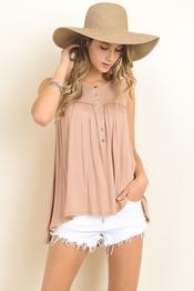 Sleeveless Babydoll Top - Taupe