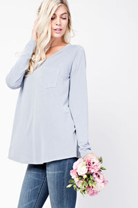 Long Sleeve V Neck Pocket Tee
