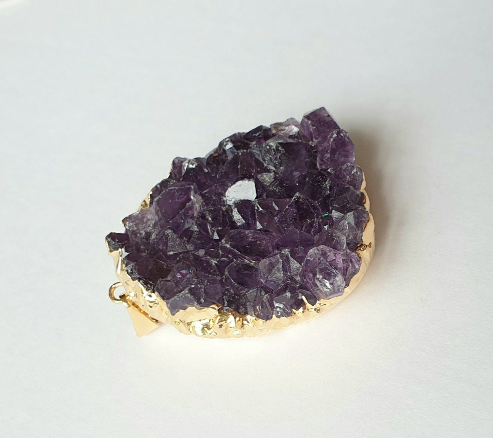 Amethyst druzy, electroplated yellow gold pendant AD-01
