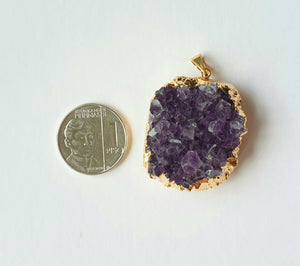 Amethyst druzy, electroplated yellow gold pendant AD-02