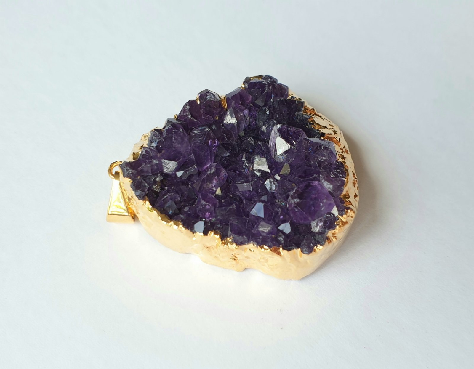 Amethyst druzy, electroplated yellow gold pendant AD-04