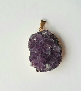 Amethyst druzy, electroplated yellow gold pendant AD-10