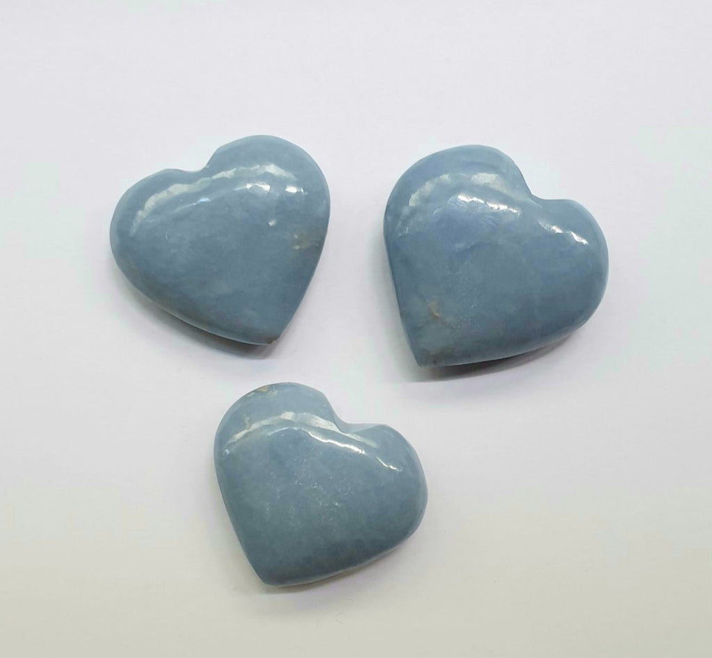 Angelite hearts (hand-carved)