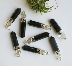 Black Tourmaline with Clear Quartz pendant