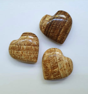 Brown Aragonite hearts (hand-carved)