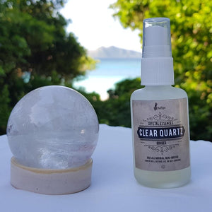 Clear Quartz and Ginger Face and Body mist (with real Clear Quartz crystals inside) - IndigoCrystals