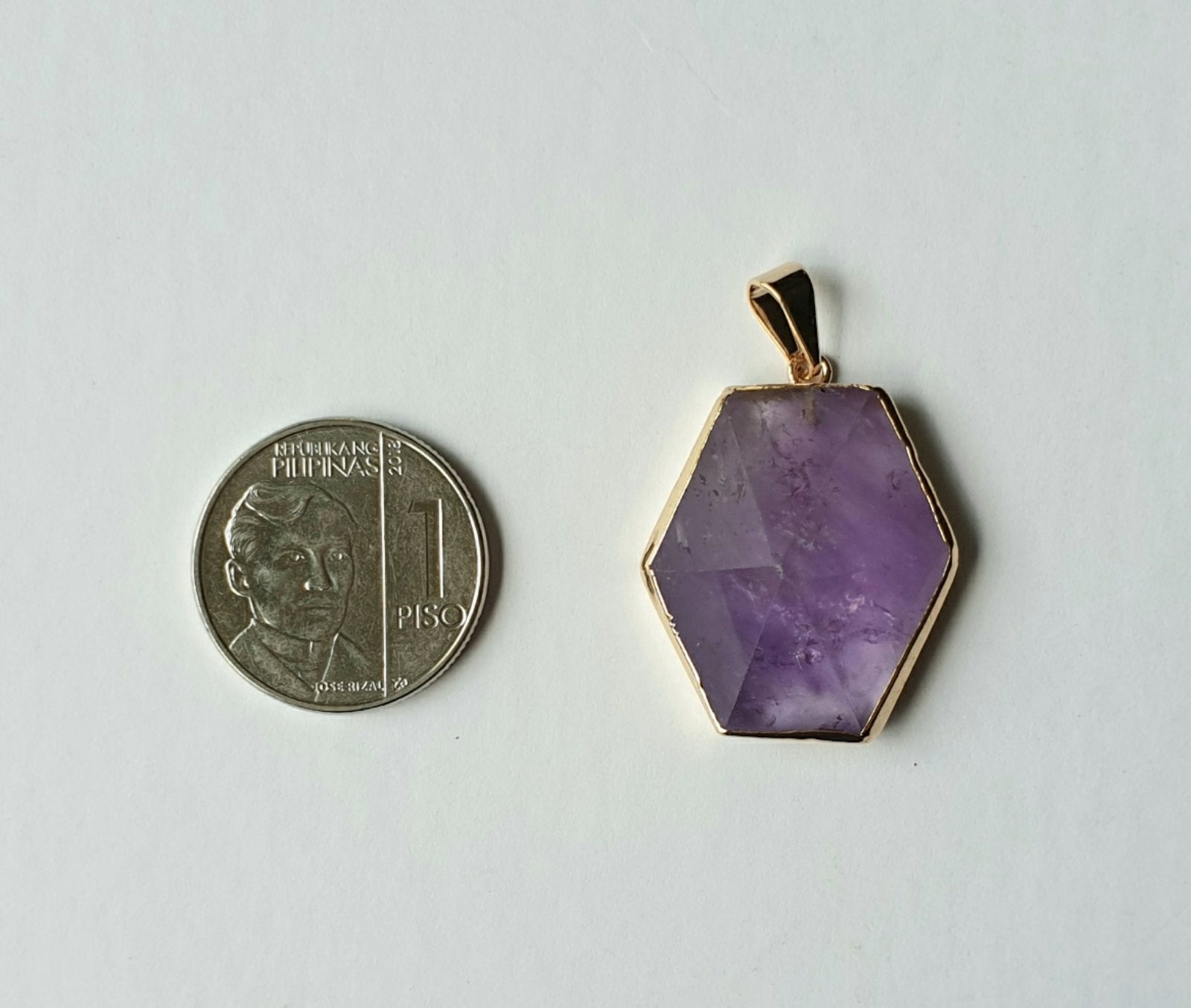 Hexagon Amethyst, electroplated yellow gold pendant