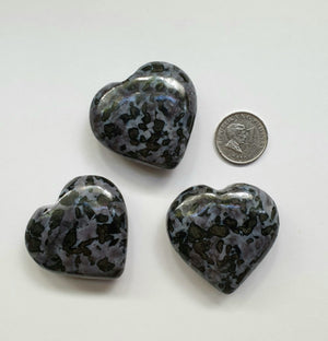 Indigo Gabbro hearts (hand-carved)