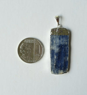 Kyanite, electroplated white gold pendant