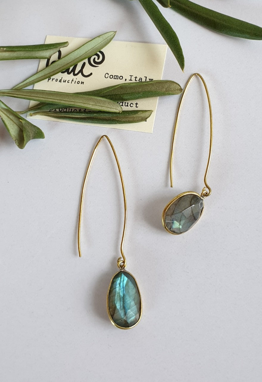 Labradorite earrings in Brass, designed and handmade in Como, Italy