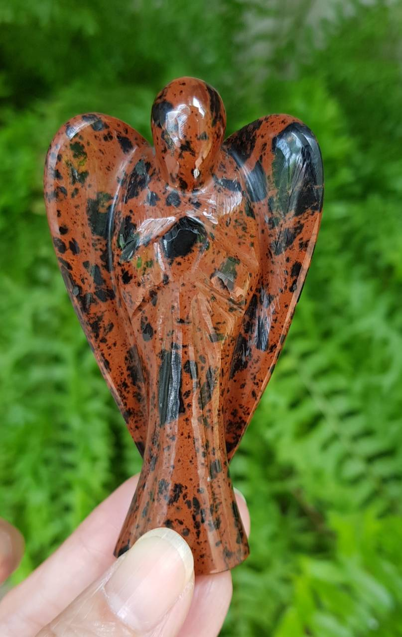 Large Mahogany Obsidian Angel  (hand-carved) - IndigoCrystals
