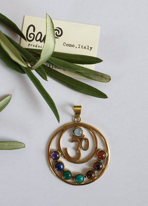 OM chakra pendant in Brass, designed and handmade in Como, Italy