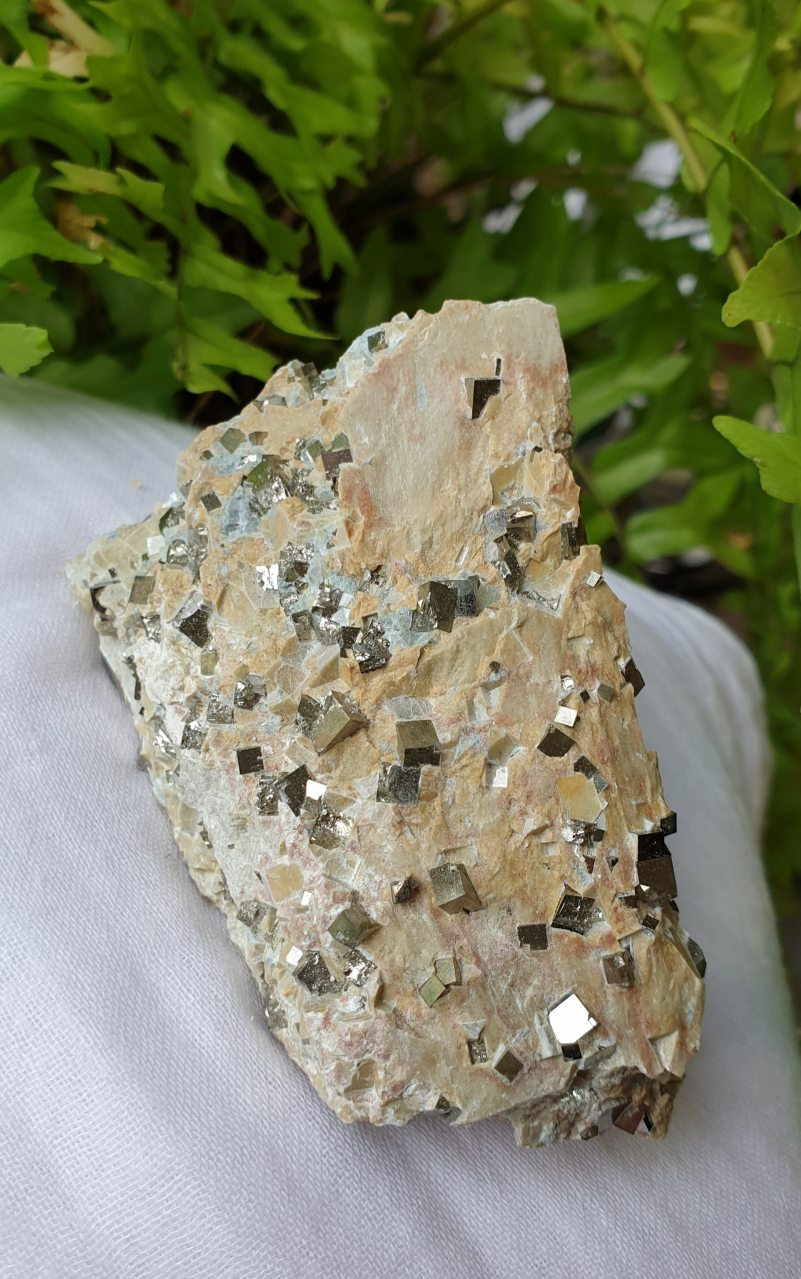 Perfect Pyrite cubes in matrix from Navajun, La Rioja, Spain PM-13
