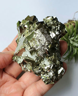 PYR-12: Pyramid-shaped Tetrahedron Pyrite Crystal Cluster (Huanzala Mine, Peru) *reserved