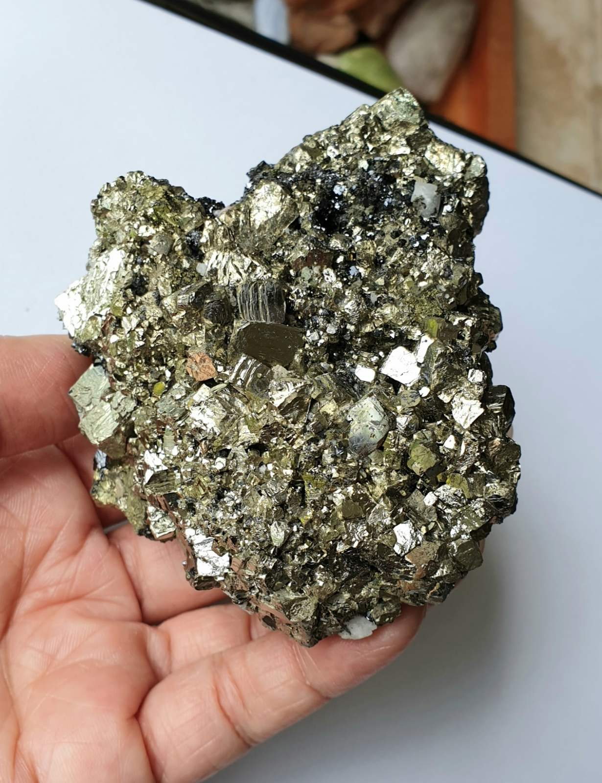PYR-13: Pyrite Cluster with Calcite and Sphalerite (Huanzala Mine, Peru)