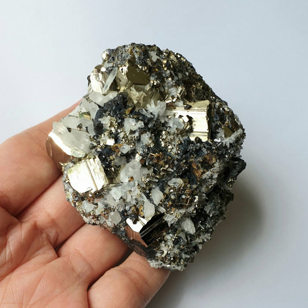 PYR-16: Rhombic Pyrite with Crystal Quartz and Sphalerite (Huanzala Mine, Peru)