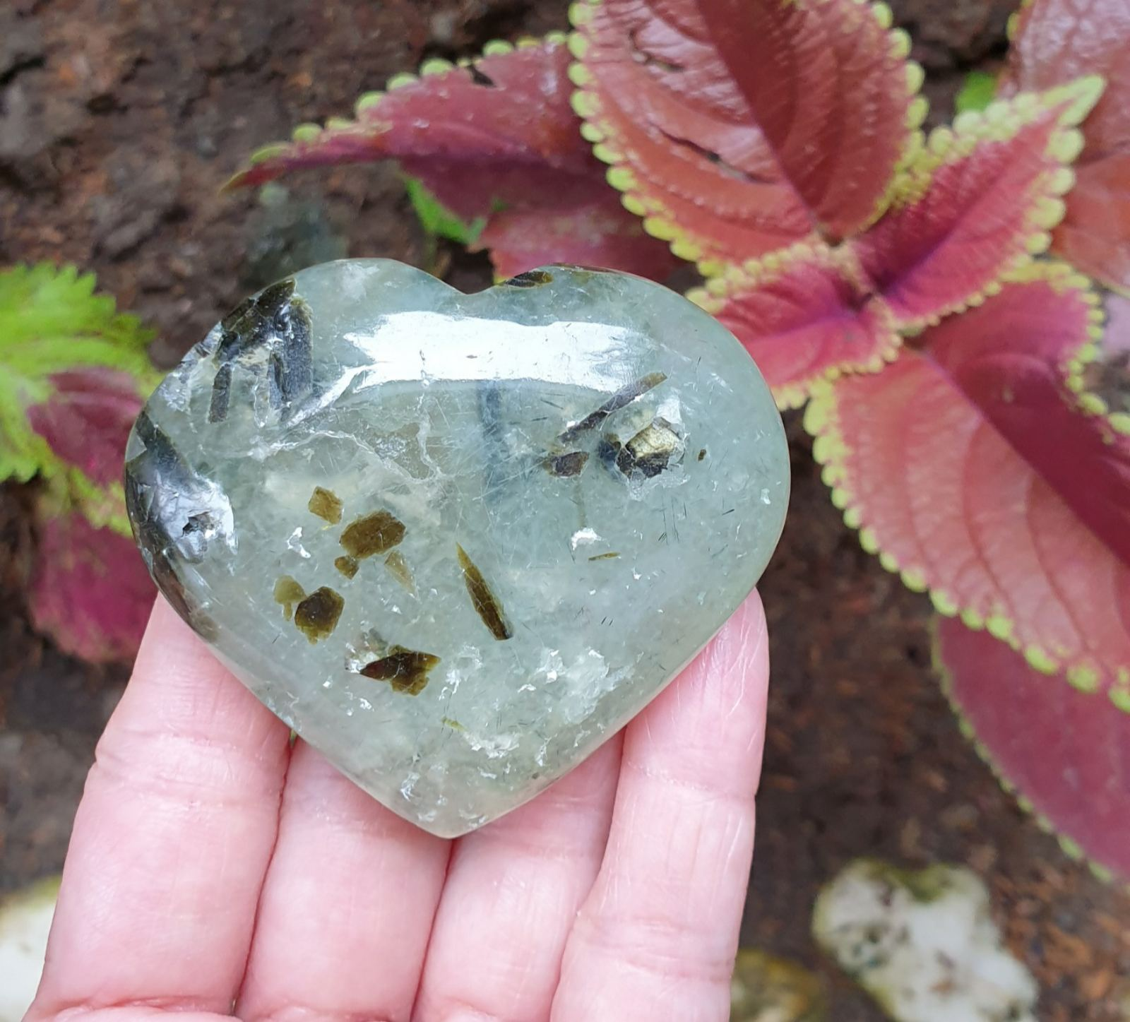Prehnite (hand-carved and heart-shaped)