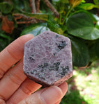 Raw Corundum Ruby Hexagon with Black Tourmaline (naturally formed) RB-03