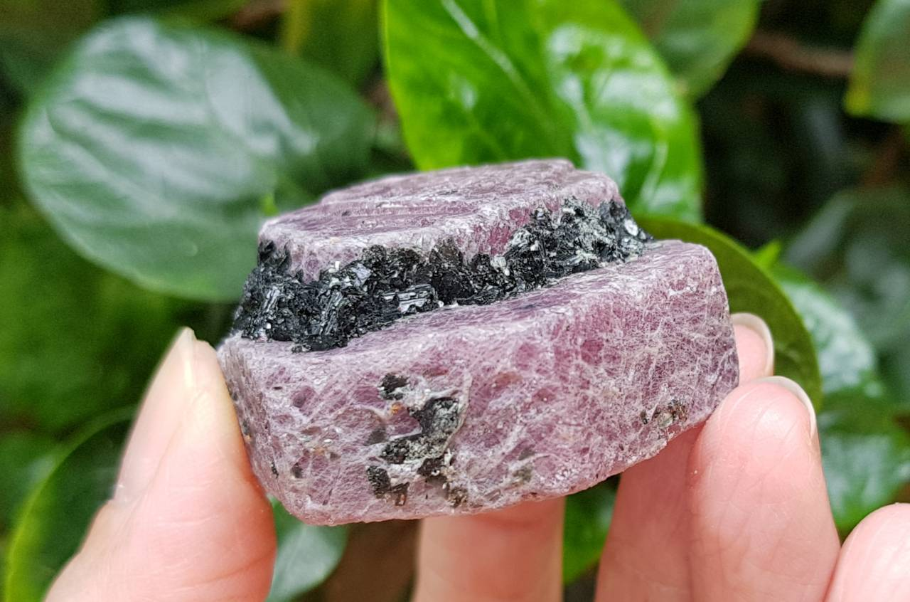 Raw Corundum Ruby Hexagon with Black Tourmaline RC-05 - IndigoCrystals