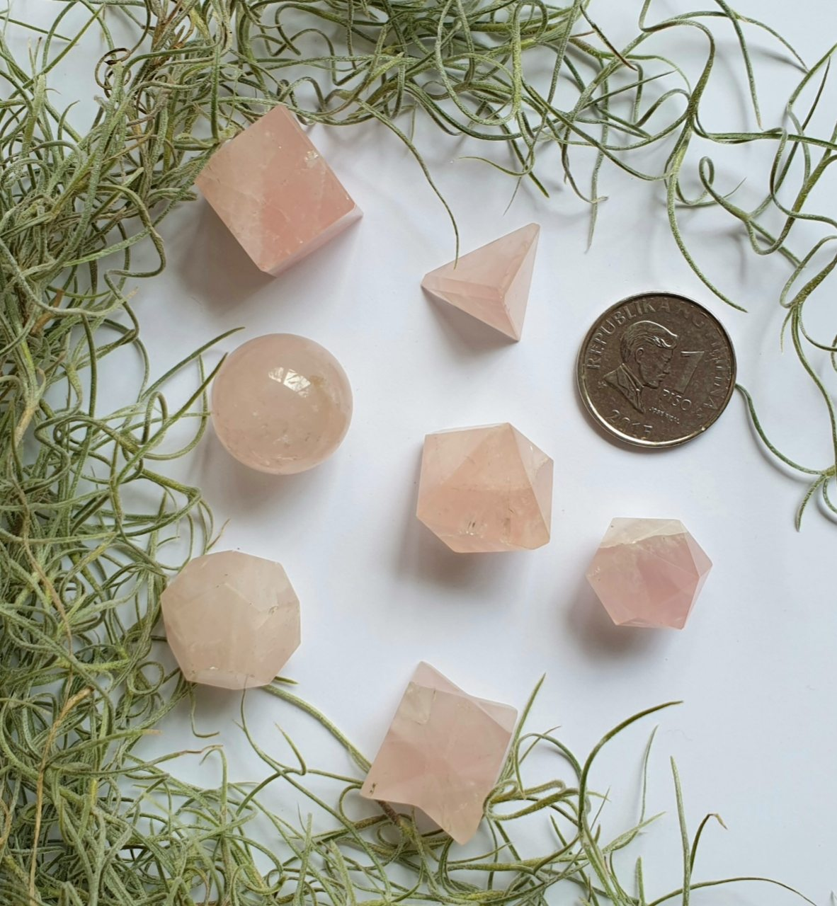 Rose Quartz Sacred Geometry crystal set