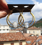Rainbow Moonstone earrings in Brass, designed and handmade in Como, Italy