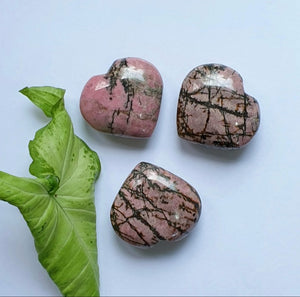 Rhodonite hearts (hand-carved)