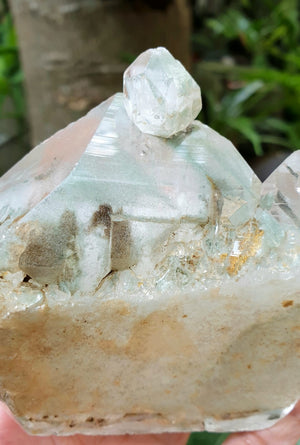 Green Chlorite in Quartz with baby Skeletal Quartz (w/ self-healed portions) | Rare