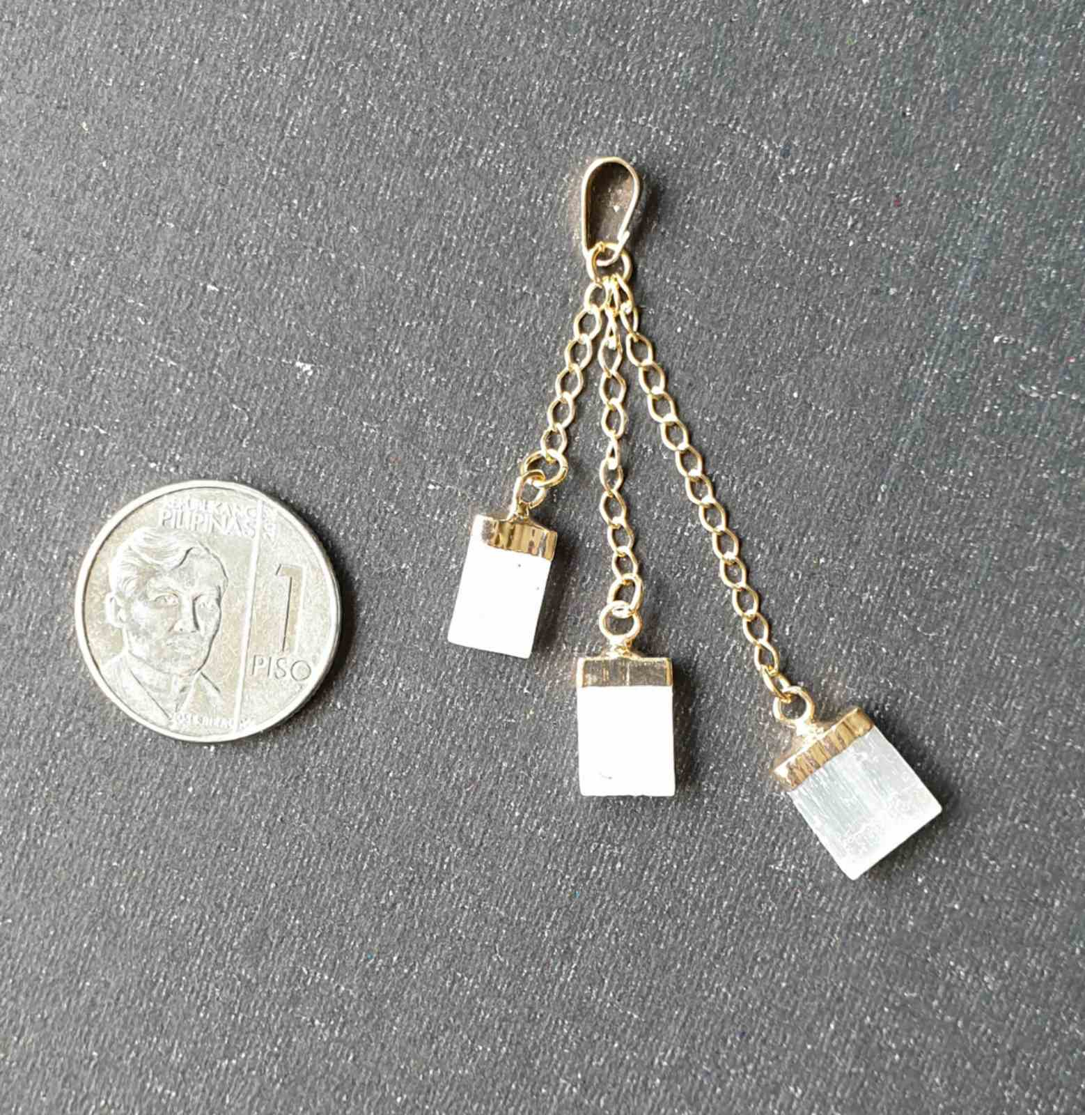Selenite, triple dangling, electroplated yellow gold pendants