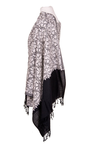 Black and white Kashmiri Shawl