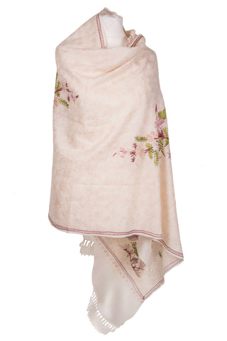 White and pink floral Shawl