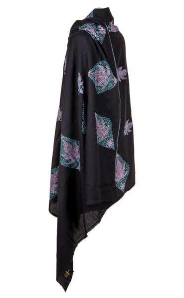 Semi Pashmina Black Shawl Chinaar flowers