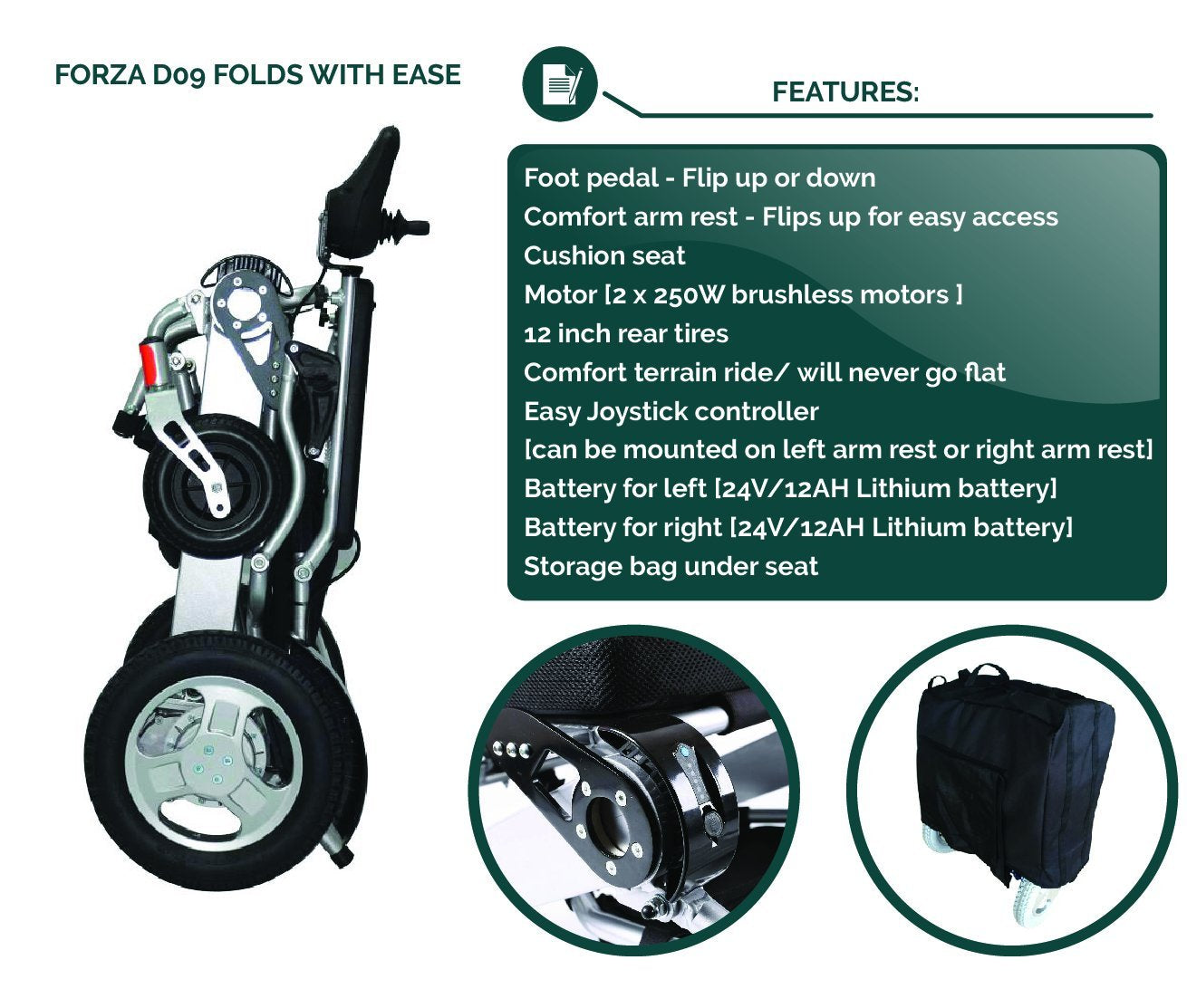 Sentire Med Forza D09 Deluxe Fold Foldable Power Compact Mobility Aid Wheel  Chair, Lightweight Folding Carry Electric Wheelchair, Motorized Wheelchair,  ...