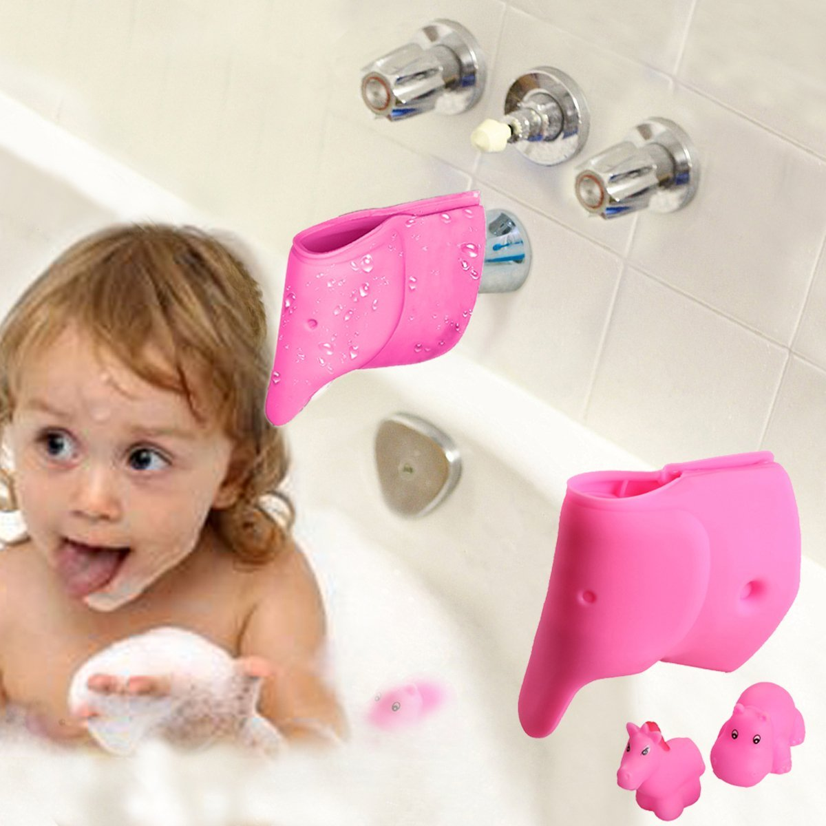Bath Spout Cover - Bathtub Faucet Cover for Kid - Bath Tub Faucet Extender Protector For Baby - Silicone Soft Spout Cover Baby Pink Elephant - Child ...